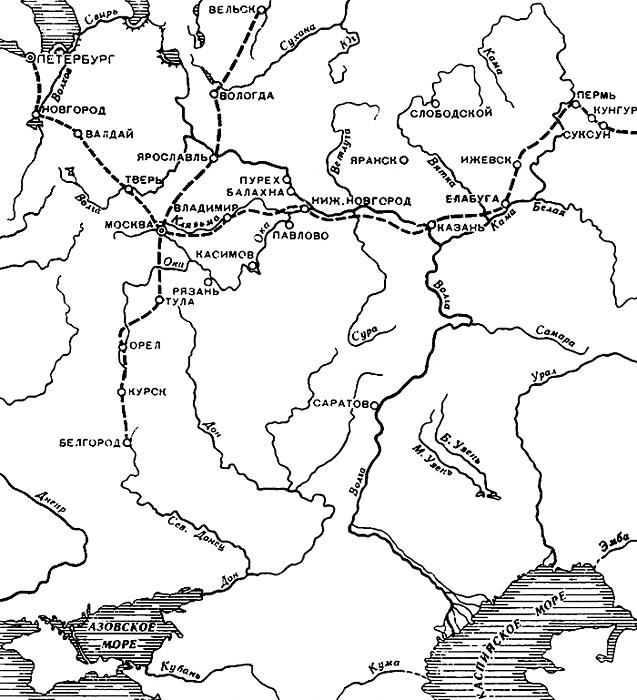 Карта главных почтовых дорог России вXVIII-XIX вв.